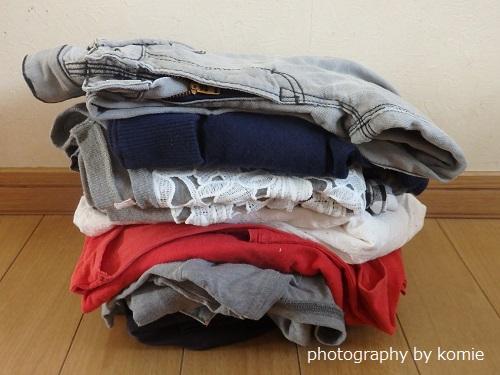 断捨離した服の山